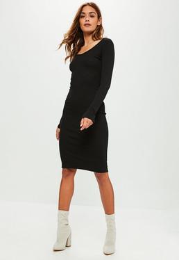Black Scoop Neck Ribbed Midi Dress