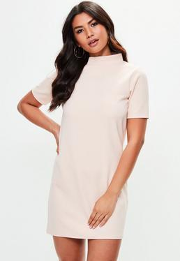 Pink High Neck Scuba Dress
