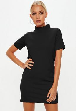 Black High Neck Scuba Dress