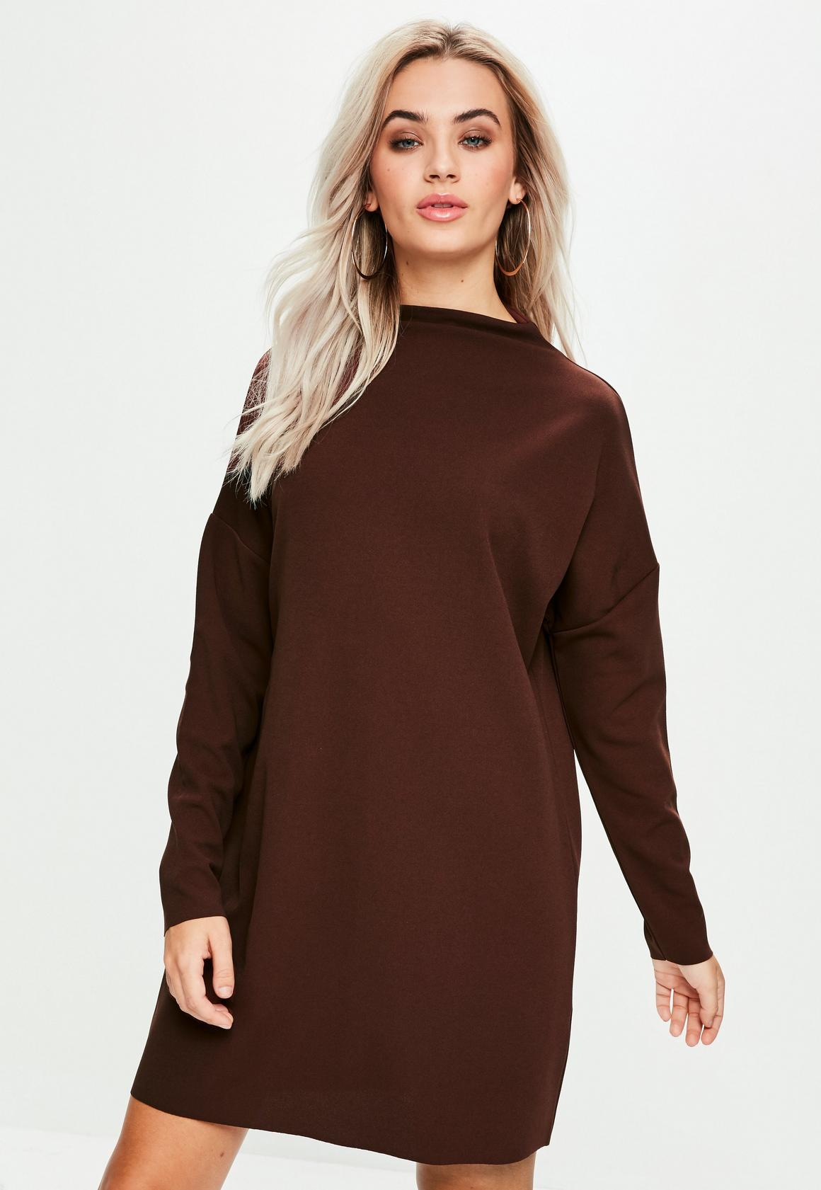 Brown Scuba Sweater Dress | Missguided