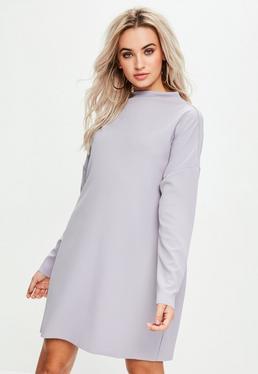 Purple Scuba Sweater Dress