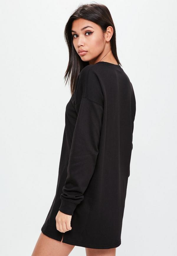 Black Long Sleeve Sweater Dress | Missguided