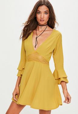 Yellow Crop Sleeve Lace Waist Skater Dress