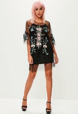 Black Mesh Embroidered Shift Dress