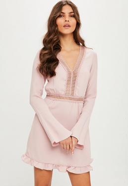 Pink Flared Sleeve Shift Dress