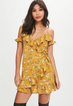 Yellow Printed Cold Shoulder Tea Dress