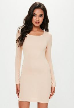 Nude Long Sleeve Plain Jersey Bodycon Dress