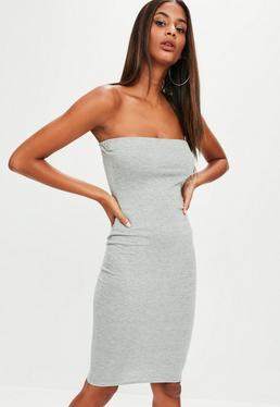 Grey Bandeau Midi Dress