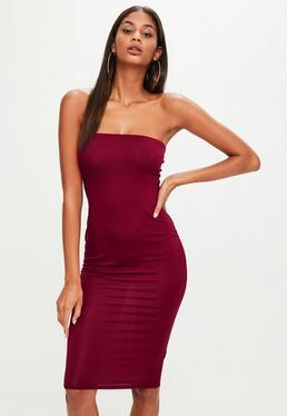 Burgundowa dopasowana sukienka midi