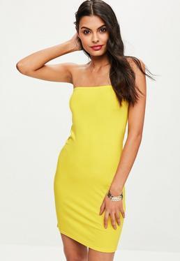 Żółta bandażowa sukienka mini