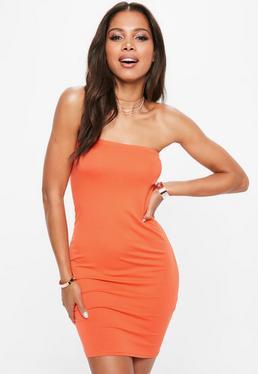 Orange Bandeau Mini Dress