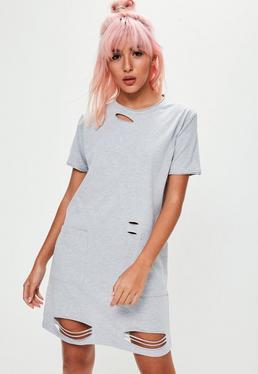Szara sukienka T-shirt z dziurami