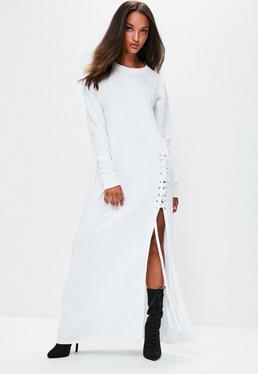 Londunn + Missguided Biała sukienka tunika z wiązaniami