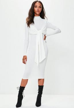 Londunn + Missguided Cream Ribbed Midi Dress