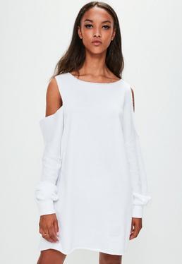 Londunn + Missguided White Oversized Cut Out Sweat Dress