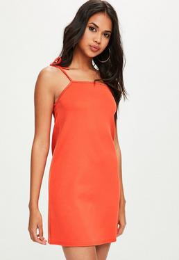 Orange Tie Strap Cami Shift Dress