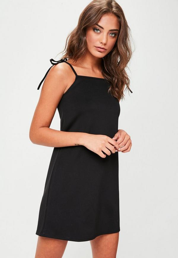Black Tie Strap Cami Shift Dress by Missguided