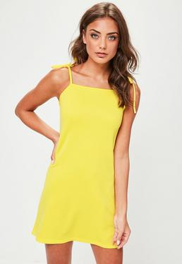 Yellow Tie Strap Cami Shift Dress