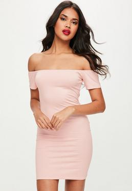 Pink Bardot Short Sleeve Bodycon Mini Dress