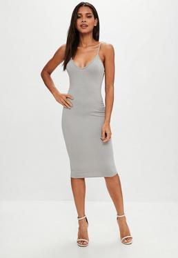 Grey Cami Strap Bodycon Midi Dress