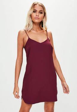 Burgundy Cami Crepe Shift Dress