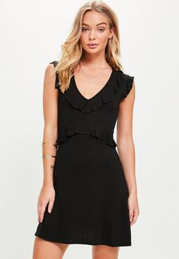Black Short Sleeve Tea Dress