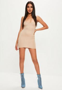 Brown Square Neck Bodycon Mini Dress