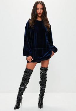 Londunn + Missguided Navy Velvet Hooded Mini Dress