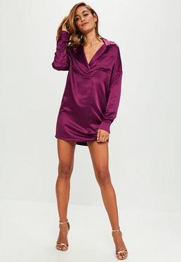 Vestido camisa de satén en morado