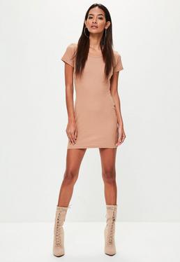 Tan Short Sleeve Ribbed Mini Dress