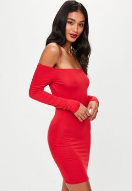 Czerwona dżersejowa sukienka mini bardot