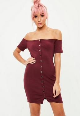 Burgundy Bardot Popper Ribbed Dress