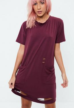 Burgundy Distressed Oversized T-Shirt Dress