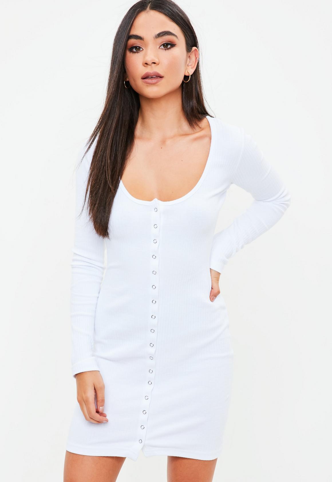 White Long Sleeve Ribbed Popper Mini Dress | Missguided