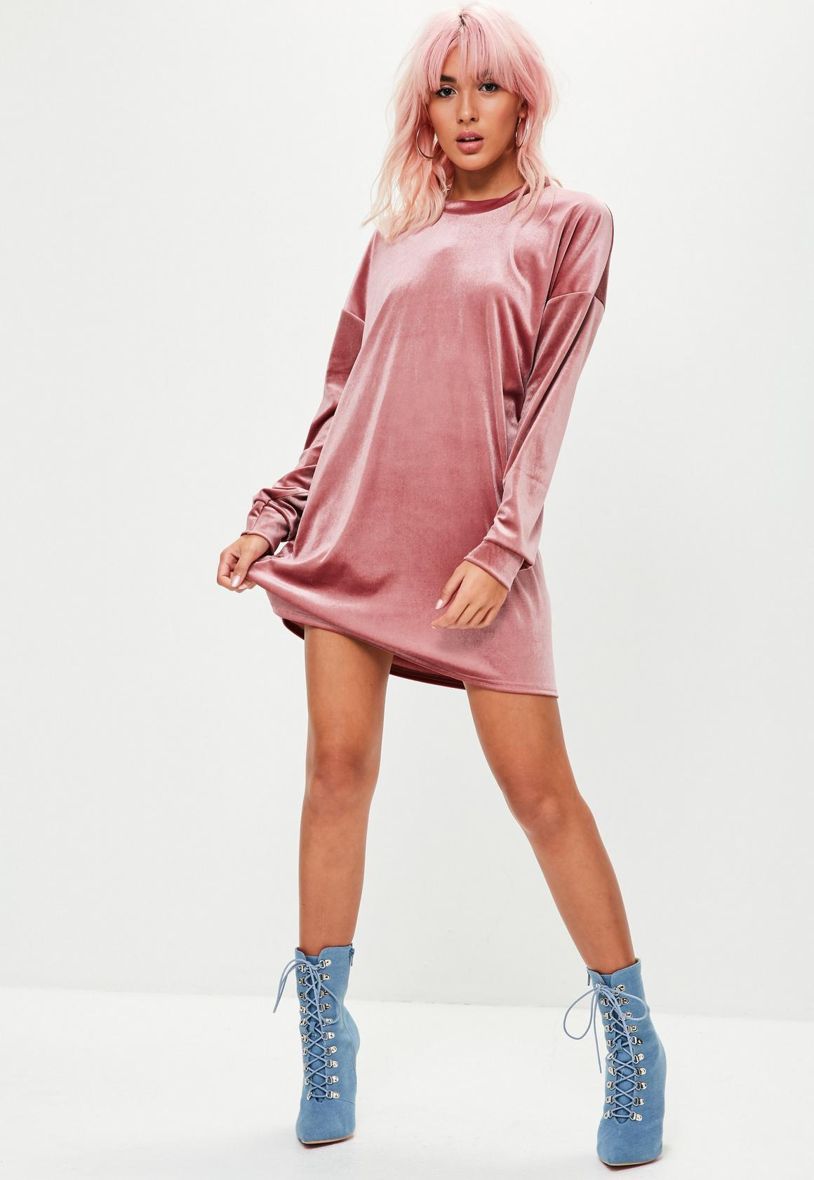Vestido sweater de terciopelo rosa | Missguided