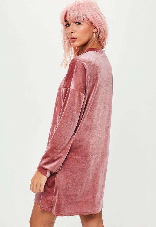 Pink Velvet Sweater Dress | Missguided