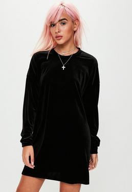 Black Crushed Velvet Sweater Dress