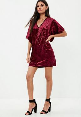 Burgundy Crushed Velvet Oversized T-shirt Dress