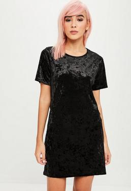 Black Crushed Velvet Oversized Dress