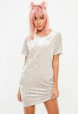 Cream Crushed Velvet Oversized Dress