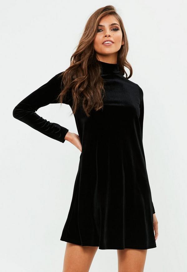 Black Velvet High Neck Skater Dress Missguided