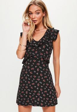 Floral Short Sleeve Tea Dress