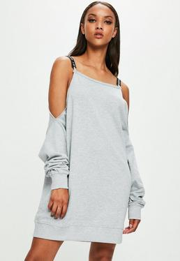 Londunn + Missguided Grey Cold Shoulder Sweat Dress