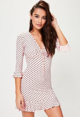 Pink Polka Dot Jersey Tea Dress