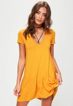 Yellow Cap Sleeve V Neckline Swing Dress