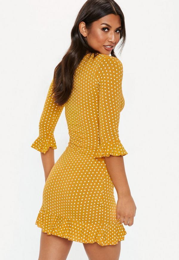 Yellow Polka Dot Print Frill Tea Dress Missguided Australia