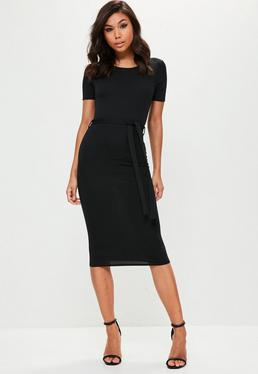 Black Short Sleeve Tie Waist Midi Dress