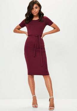 Burgundy Short Sleeve Tie Waist Midi Dress