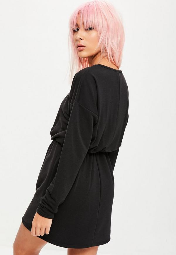 Black Long Sleeve Tie Waist Sweater Dress Missguided