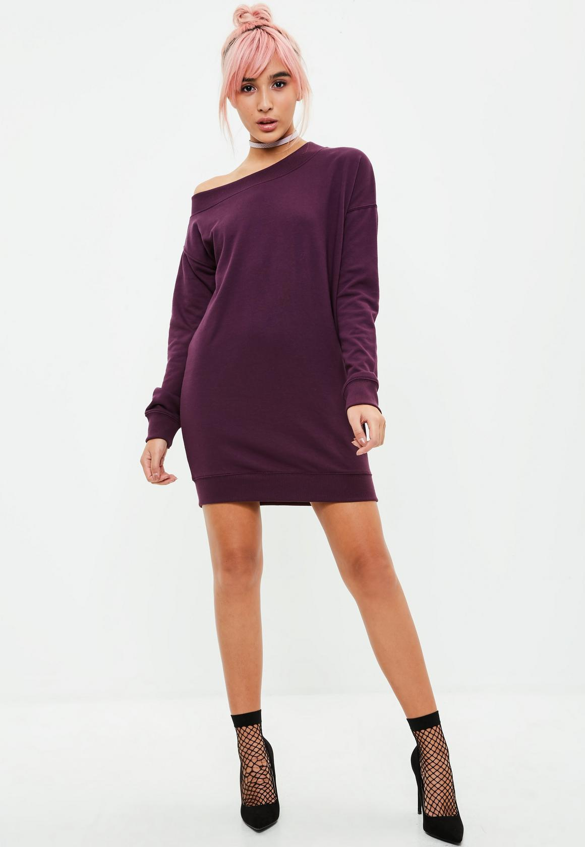 Purple Off The Shoulder Sweater Dress | Missguided